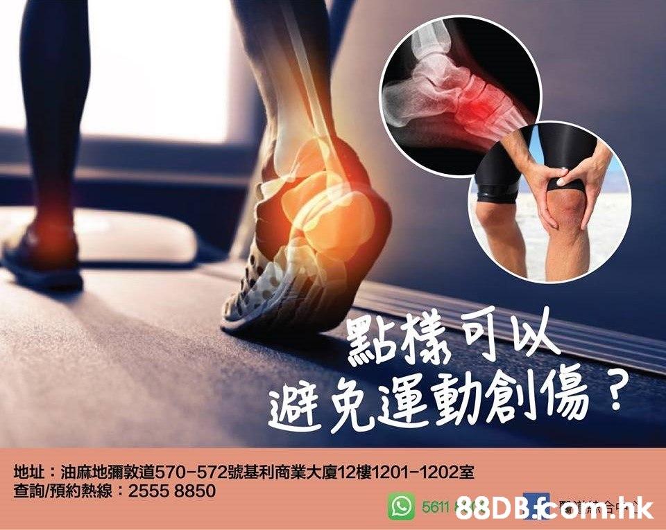 點構可以 避免運動創傷? 地址:油麻地彌敦道570-572號基利商業大廈12樓1201-1202室 查詢/預約熱線: 2555 8850 .hk 5611  Joint,Leg,Arm,Muscle,Human body