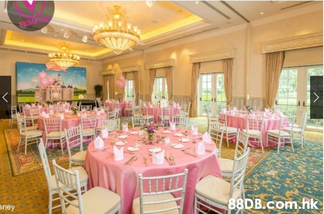 P sney .hk XX  Wedding banquet,Function hall,Decoration,Pink,Restaurant