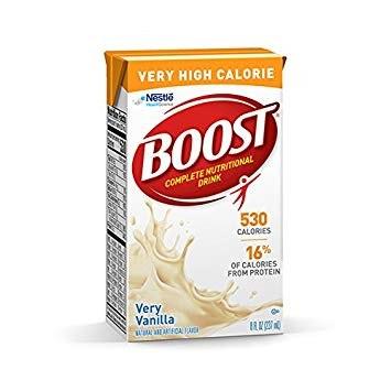 雀巢BOOST高蛋白高卡營養素,雲尼拿味,每盒237毫升,530卡路里,含22克優質蛋白質及52克碳水化合物(包括13克糖)及多種人體必需維他命、礦物質及微量元素,美味可口,老少咸宜。