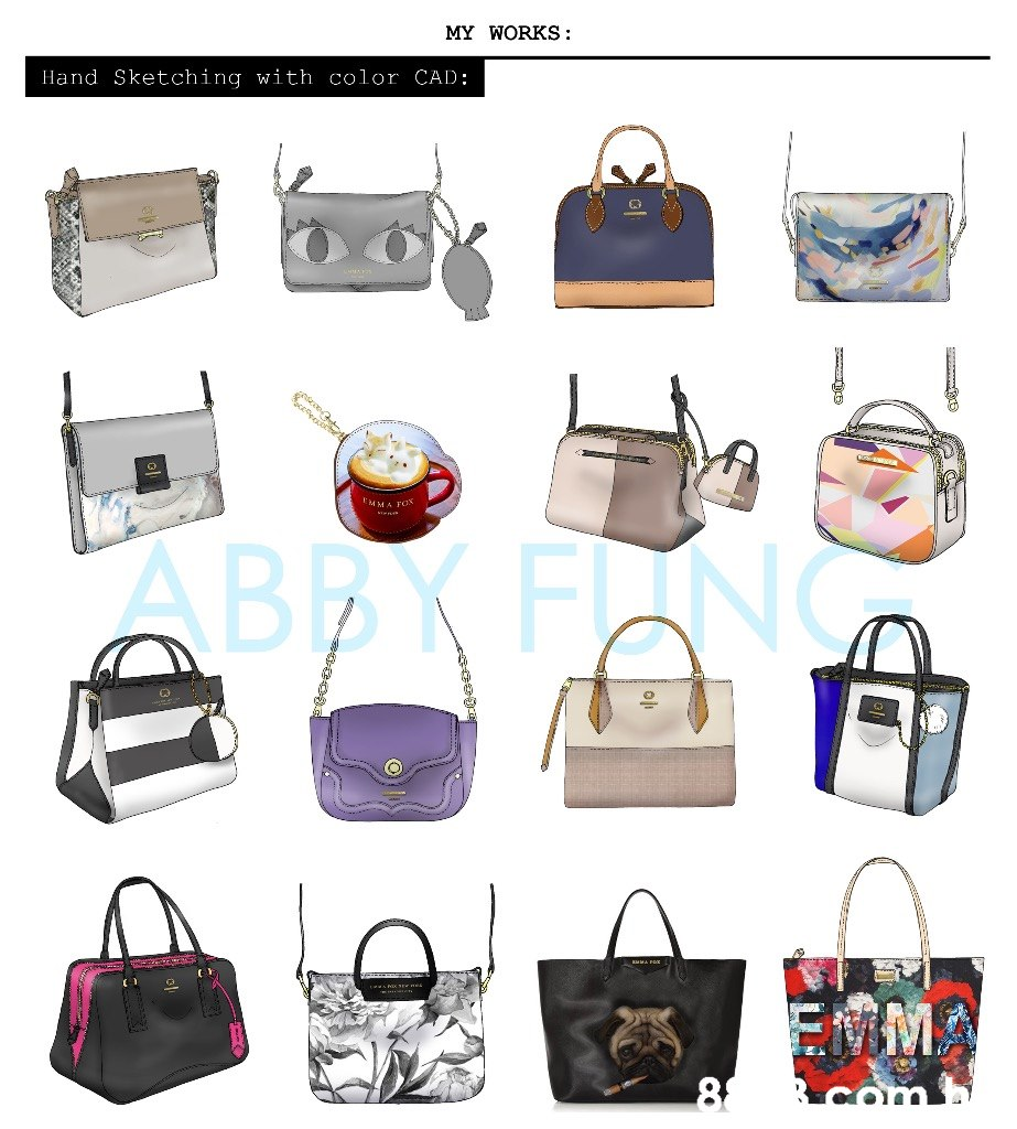 MY WORKS Hand Sketching with color CAD: MMA FOX sne ABBK FONC 8  Bag,Handbag,Fashion accessory,Shoulder bag,Luggage and bags