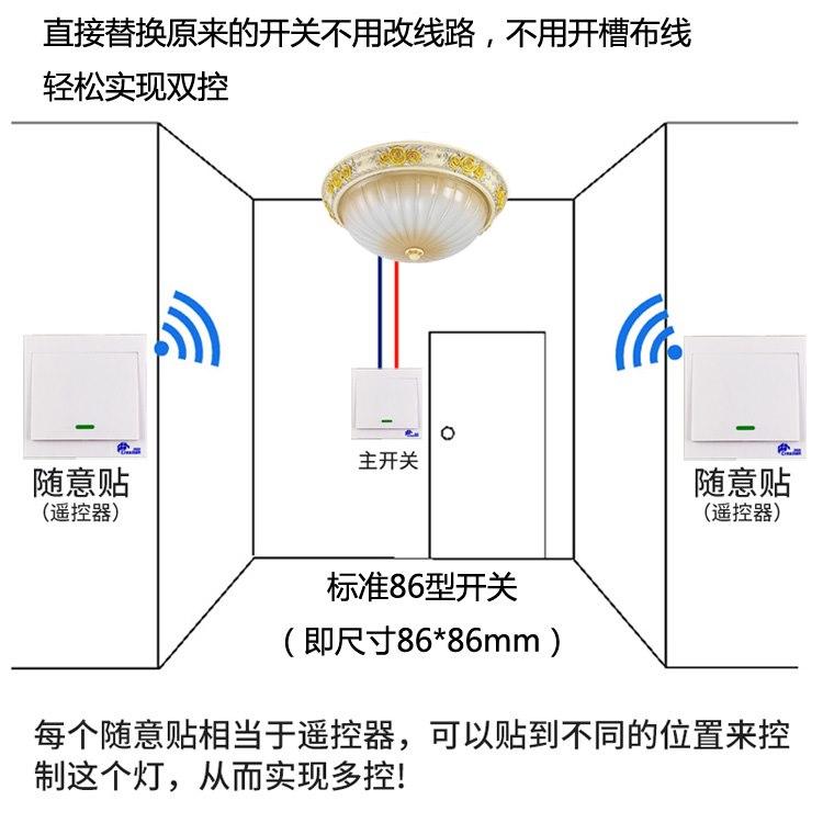 直接替换原来的开关不用改线路,不用开槽布线 轻松实现双控 主开关 随意贴 (遥控器) 随意贴 (遥控器) 标准86型开关 (即尺寸86*86mm) 每个随意贴相当于遥控器,可以贴到不同的位置来控 制这个灯,从而实现多控!  Diagram,Line,Parallel
