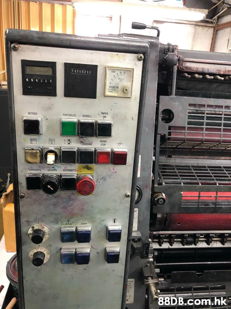 7425922 6 5 4 2 1 PAPIER BETRIEB FORTORUCK SCHNELL EIN PAPIER ANGSAM STOP VDRWARTS RUCKWARTS SICHERN .hk  Machine,Control panel,Electronics,Machine tool,Toolroom