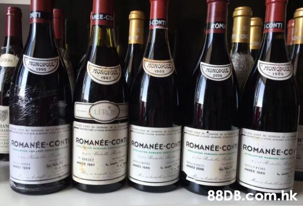 EE-CO CONTI ONT ROM MONOPOE 1989 MONOPOLE MONOPOLE MONOPOLE MONOFOLE 1989 1999 2006 1987 LERO MAN ARAN LEMIONNOM ROMANEE-CONT ROMANÉE-CONROMANÉE-CONT ROMANÉE-CONT ROMANÉE-CO ANNEE .hk  Bottle,Drink,Glass bottle,Wine bottle,Alcoholic beverage