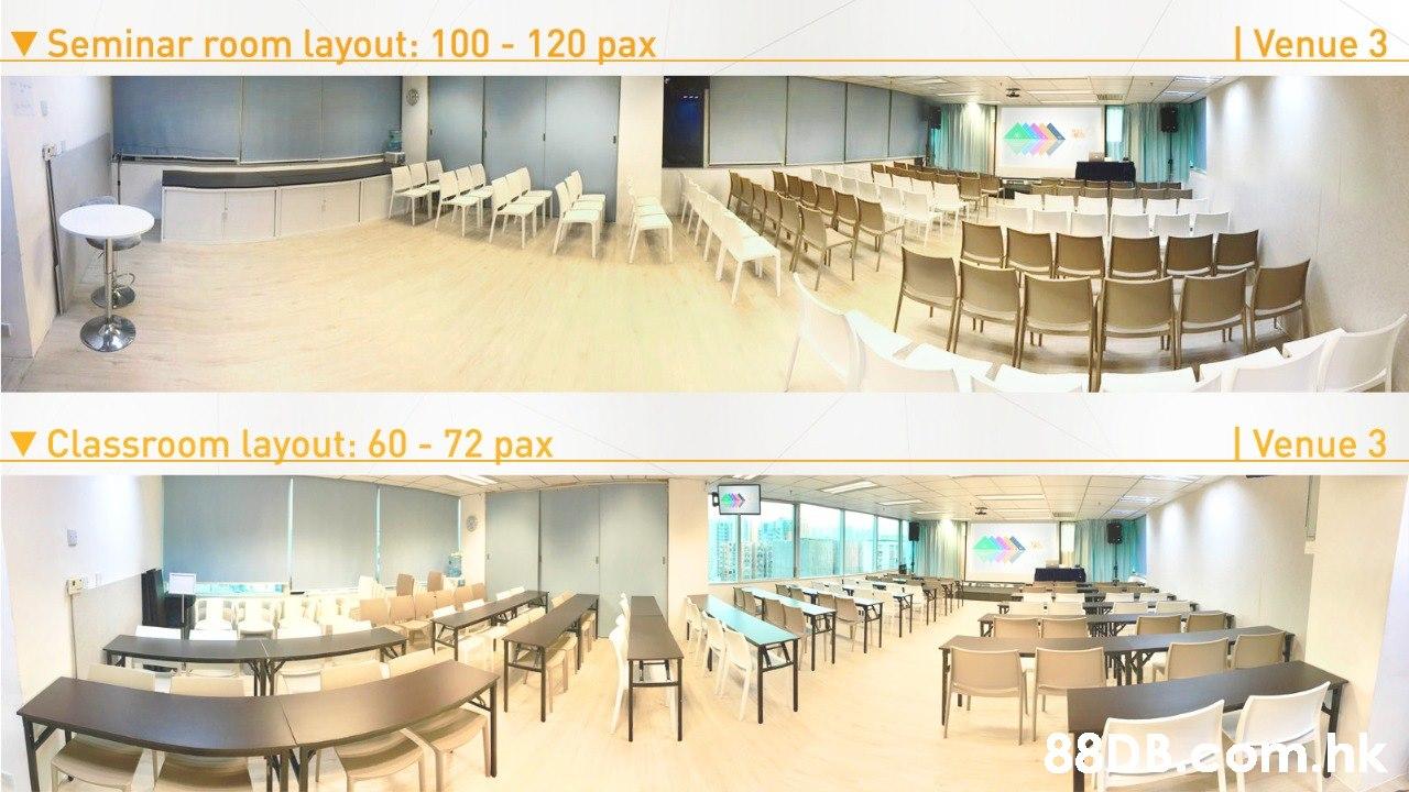 ▼ Seminar room layout: 100 - 120 pax   Venue 3 ▼ Classroom layout: 60 - 72 pax   Venue 3 .hk  Property,Building,Furniture,Room,Interior design