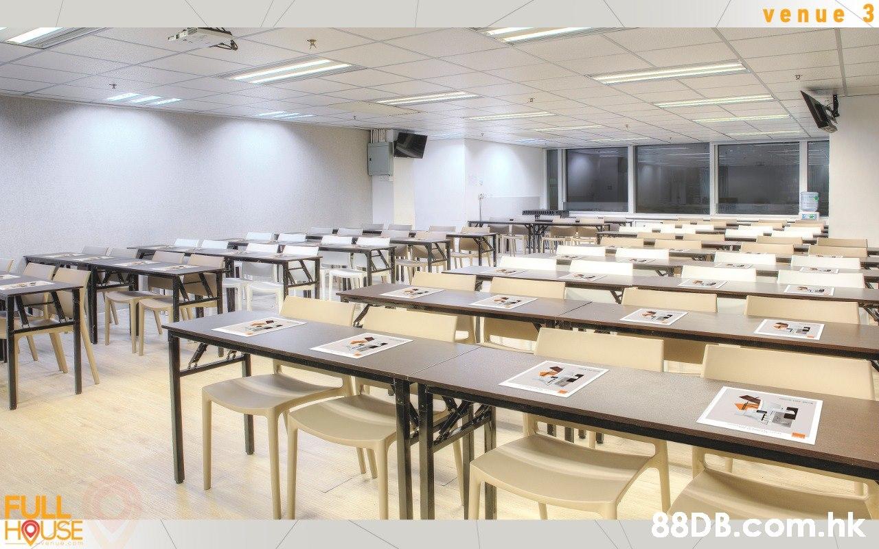 venue 3 FULL HOUSE .hk  Room,Restaurant,Classroom,Table,Building