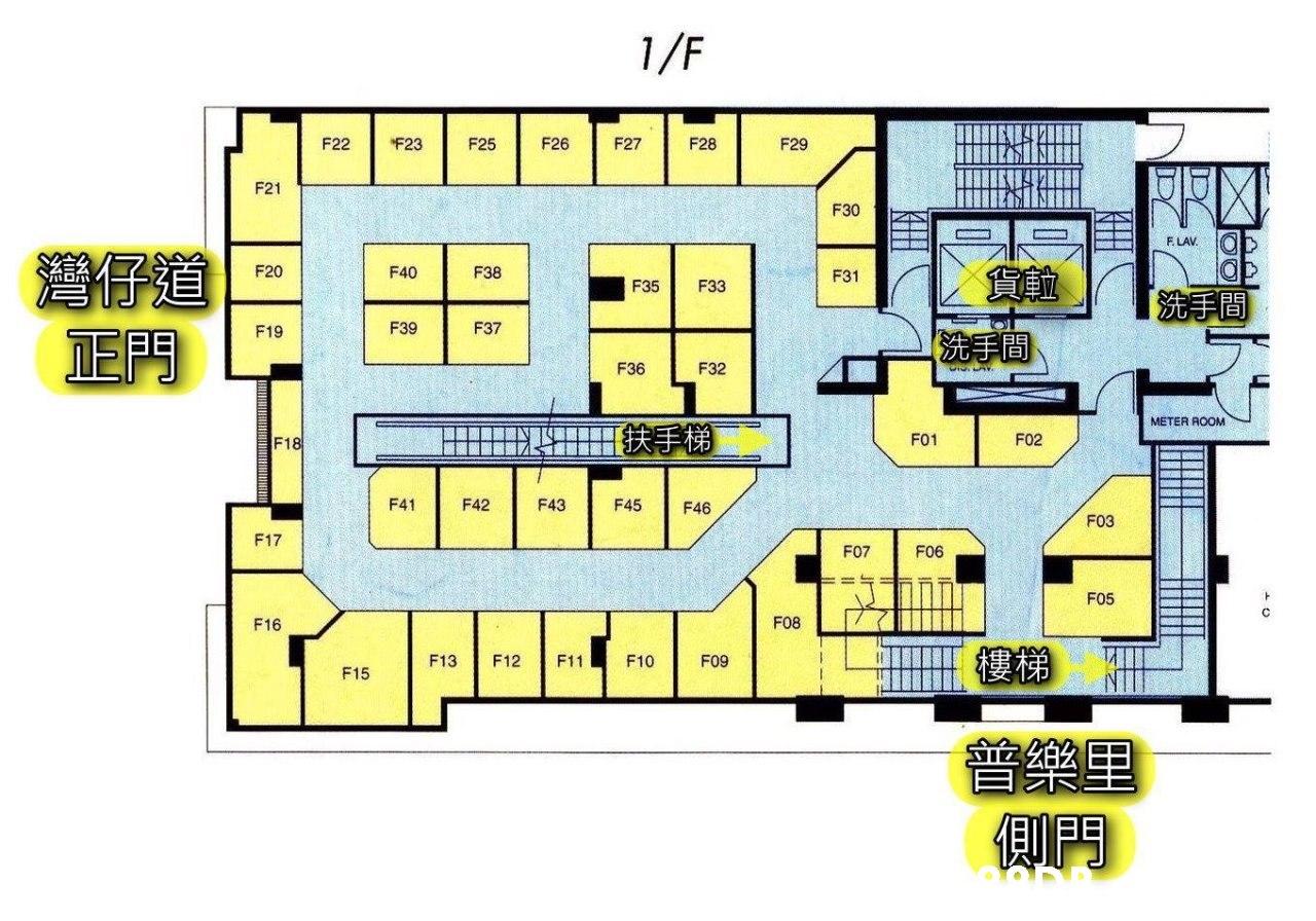 """1/F F26 F27 F22 """"F23 F25 F28 F29 F21 F30 F. LAV. F20 F40 F38 F31 F35 F33 F39 F37 F19 EP9 F36 F32 METER ROOM F01 F02 F18 F41 F42 F43 F45 F46 F03 F17 FO7 F06 F05 F08 F16 樓梯 F13 F12 F11 F10 F09 F15  Floor plan,Plan,Line,Drawing,Artwork"""