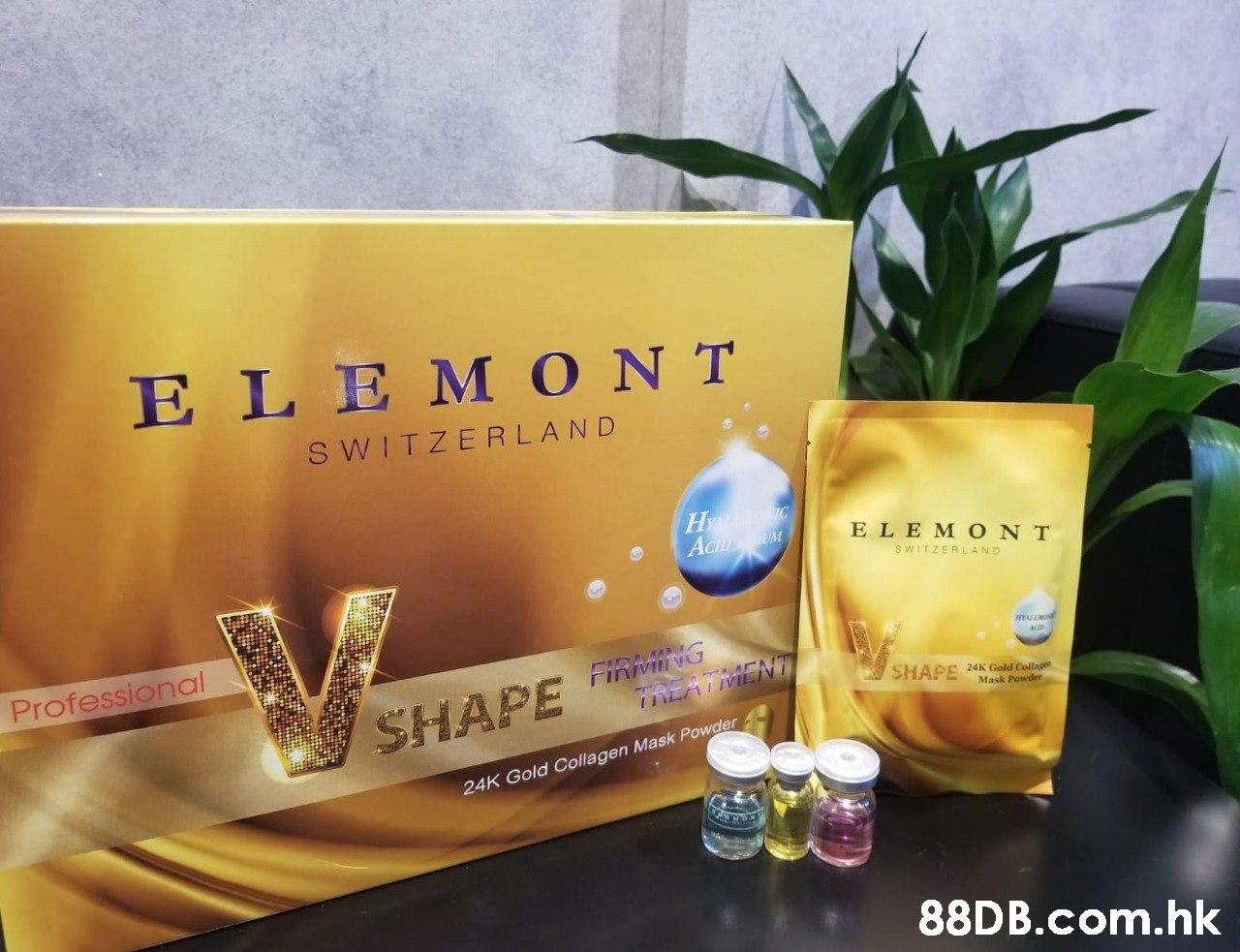 ELEM ONT S WITZERLAND ELEM ONT SWITZERLAND Professional rinivI VU SHAPE SHAPE 24K Gold Collage Mask Powder INLATMLINT 24K Gold Collagen Mask Powder .hk