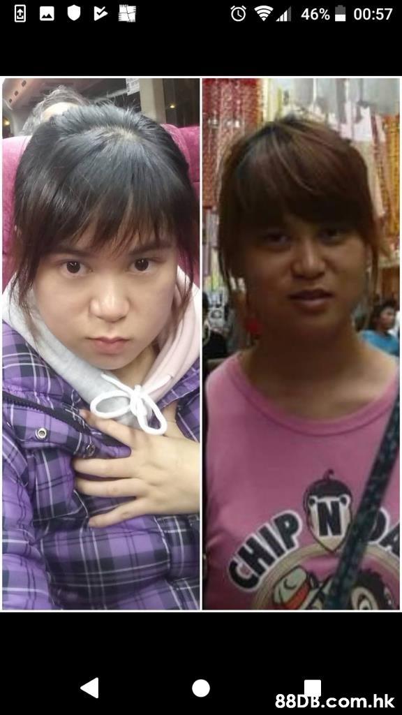 46% 00:57 CHIP .hk  Hair,Face,Facial expression,Hair coloring,Cheek