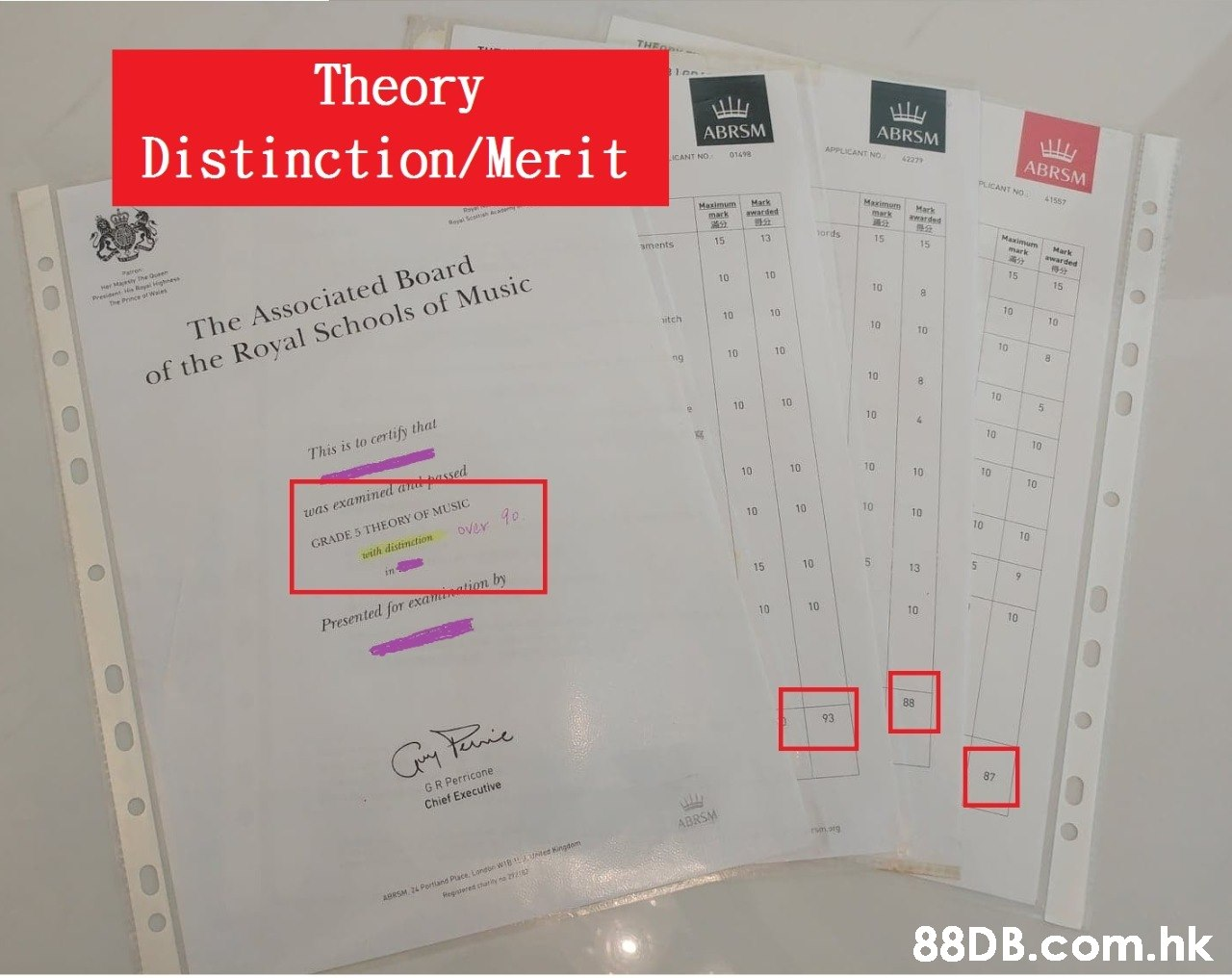 THE - Theory ABRSM ABRSM Distinction/Merit APPLICANT NOo 01498 ICANT NO 42279 ABRSM PLICANT Nn 41557 Maximum Mark warded Mazimum mark Mark mark wwarded Reyal Sesn ords 15 Maximum 13 15 15 aments mark Mark awarded er Maesy Ihe Quenn ant 4 Paren 10 15 Preeident Rayal ghne The Prince ofwe 10 15 10 10 10 10 itch 10 10 The Associated Board 10 10 10 10 8. ng of the Royal Schools of Music 10 8. 10 10 10 10 4. 10 10 This is to certify that 10 was examinedand passed over 10 10 10 TO 10 10 GRADE 5 THEORY OF MUSIC teith distinction 10 10 10 10 10 10 10 15 13 in 10 10 10 10 Presented for examination by 88 93 87 GR Perricone Chief Executive ABRSM rm ang AORSM 24 Portiand Puce, Longore WIB UNes Kingdom Regaered chatiny ne 2 .hk  Text,Product,Font,Material property,