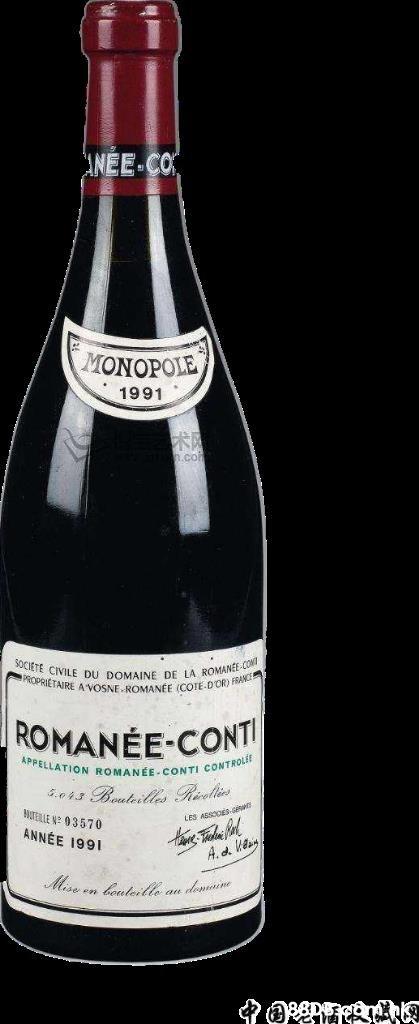 ANEE-CO MONOPOLE 1991 SOCIETE CIVILE DU DOMAINE DE LA ROMANE CONT PROPRIETAIRE A VOSNE ROMANÉE (COTE.DOR) FRANCE ROMANÉE-CONTI APPELLATION ROMANÉE - CONTI CONTROLÉE 5.043 Beateille Rizelis HUTELLE Ne 03570 ANNÉE 1991 LES ARSOER.ce Mise en louteill, au donaine  Glass bottle,Drink,Bottle,Alcoholic beverage,Liqueur