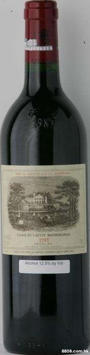 198 OtnuE A CHAYLA HIN CHATEAULAOTE NOTISCLD 1985 Alcohol 12 5% by Vol. .hk  Bottle,Drink,Alcoholic beverage,Liqueur,Wine bottle